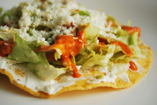 My go-to Tostada, The Classic : Smeared with sour cream and topped ...