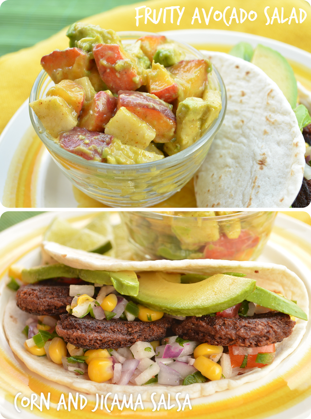 Vegan Black Bean Tacos and Fruity Avocado Salad