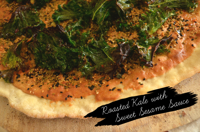 Roasted Kale Sesame Vegan Pizza via @MaryMakesDinner | www.MaryMakesDinner.com