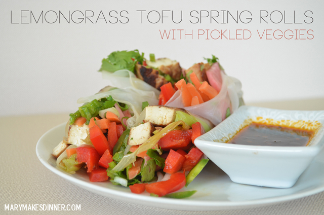 Lemongrass Tofu Spring Rolls Recipe via @MaryMakesDinner | #Vegan #GlutenFree