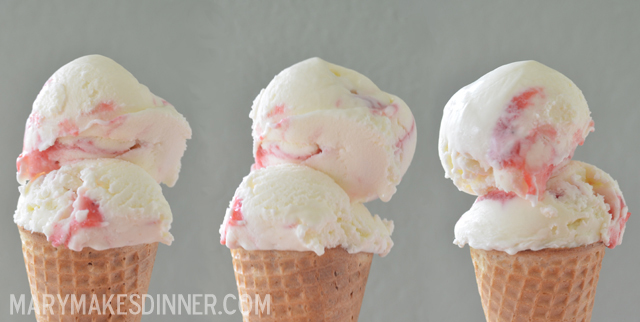 Sweet Corn Strawberry Ice Cream Recipe from @MaryMakesDinner | MaryMakesDinner.com