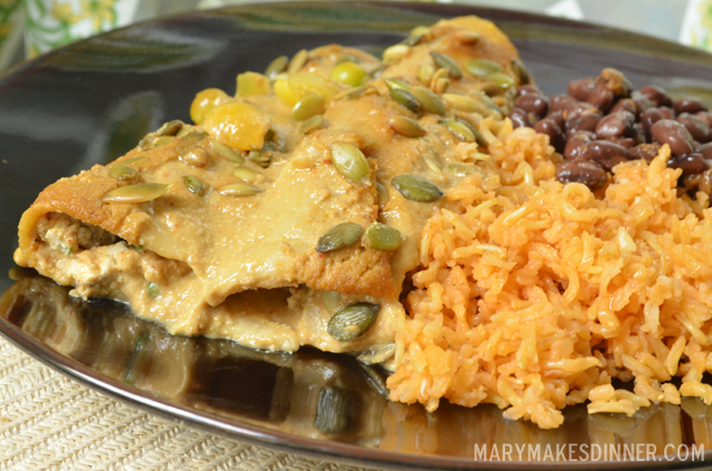 Mango Mole Enchiladas Recipe via @MaryMakesDinner | www.MaryMakesDinner.com