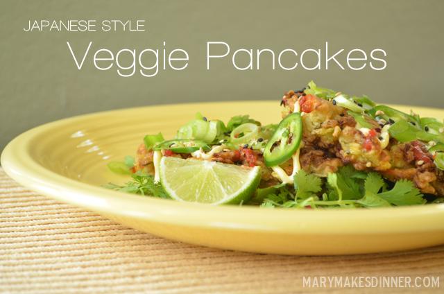 Japanese Style Veggie Pancakes via @MaryMakesDinner | MaryMakesDinner.com