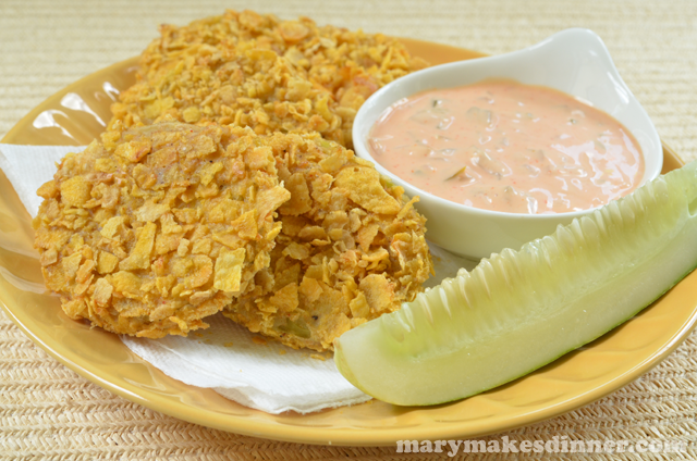 Cornflake Crusted Green Tomatoes with Quick Remoulade Recipe via @MaryMakesDinner | www.MaryMakesDinner.com