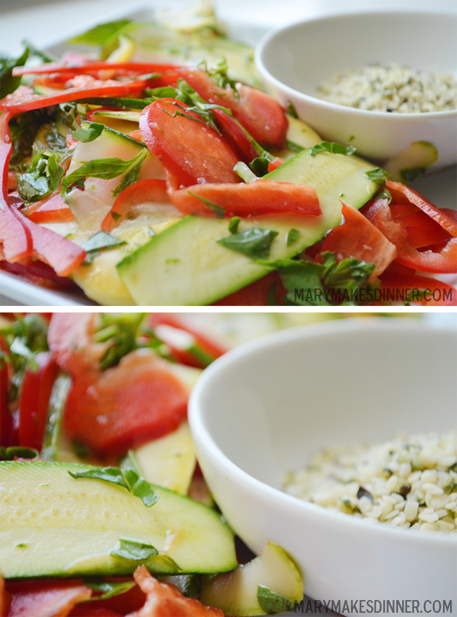 Raw Salad with Lime Basil Dressing via @MaryMakesDinner | www.MaryMakesDinner.Typepad.com