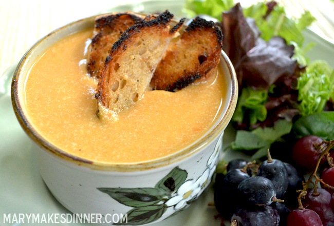 Creamy Carrot Soup (Vegan and Gluten-Free) | MaryMakesDinner.com