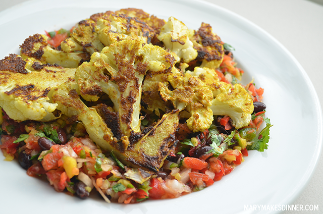 Curry Cauliflower Steaks with Mango Black Bean Salsa | MaryMakesDinner.com