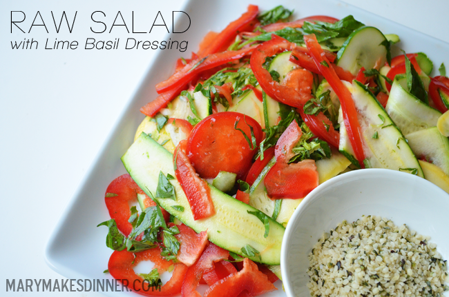 Raw Salad with Lime Basil Dressing | marymakesdinner.typepad.com