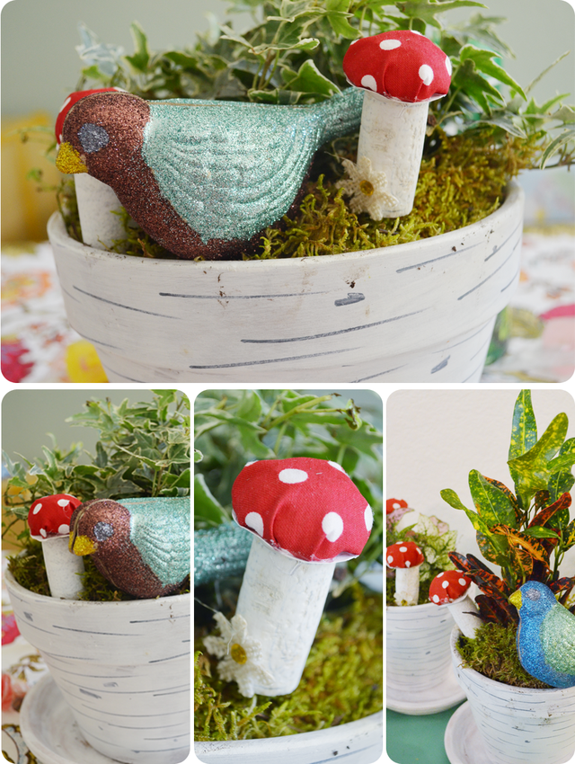 Woodland Themed Centerpieces | Woodland Themed Baby Shower | via Mary Makes Pretty
