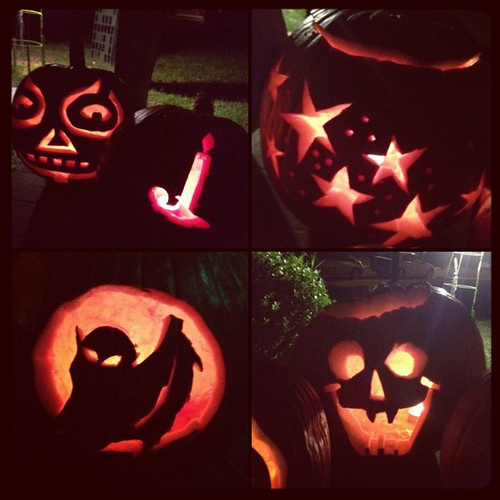 Pumpkins from last night's Carve-athon. #JackOLanterns #happyhalloween