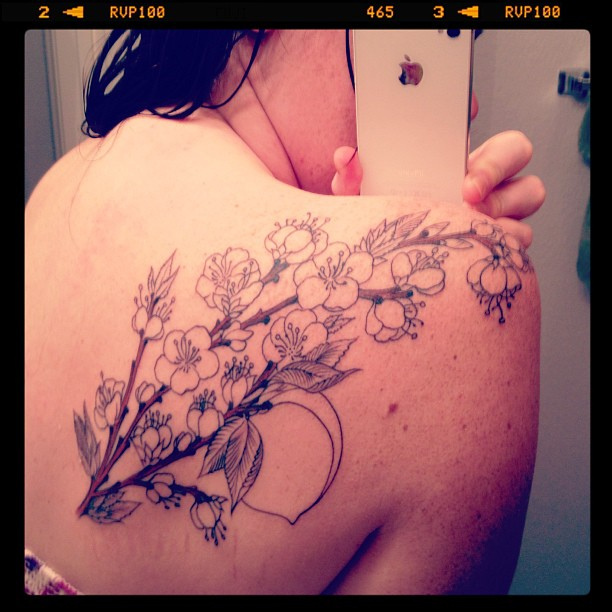 Had the line work done last night for my new tattoo. Food and flowers, of course.