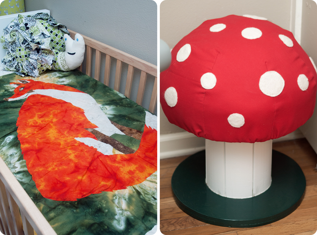 Handmade Fox Quilt and Toadstool | Woodland Themed Nursery | via @Scissorina www.Scissorina.com