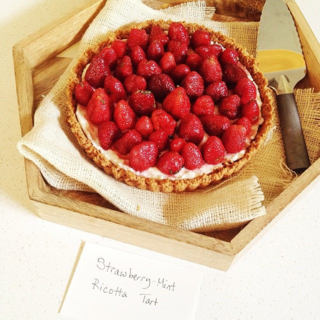 Strawberry Mint Ricotta Tart, made by Stetted