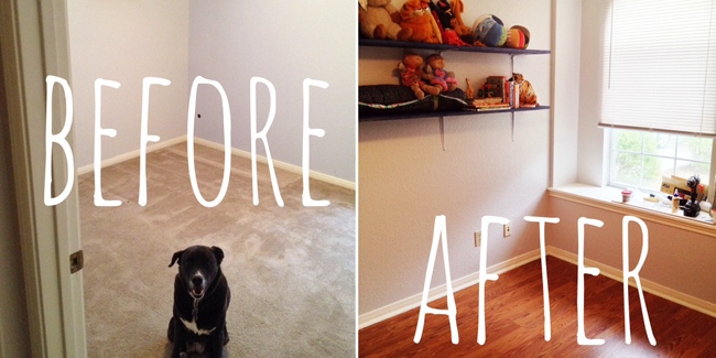 How We Replaced Our Carpeted Floor For Laminate (and Nursery Progress)
