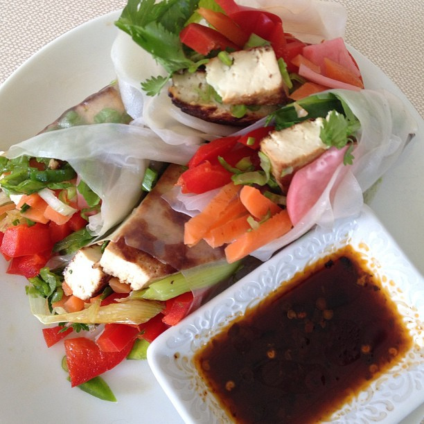 Lemongrass Tofu and Veggie Spring Rolls
