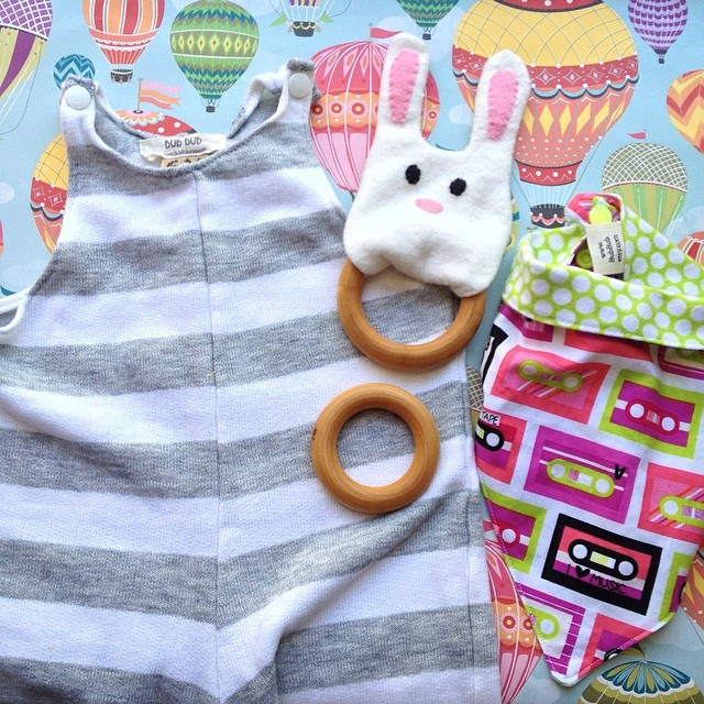 Handmade shower gifts | striped jumper, bunny teether, mixtape bandana | Scissorina | BubBub.Etsy.com | Travel Themed Baby Shower | Mary Makes Pretty