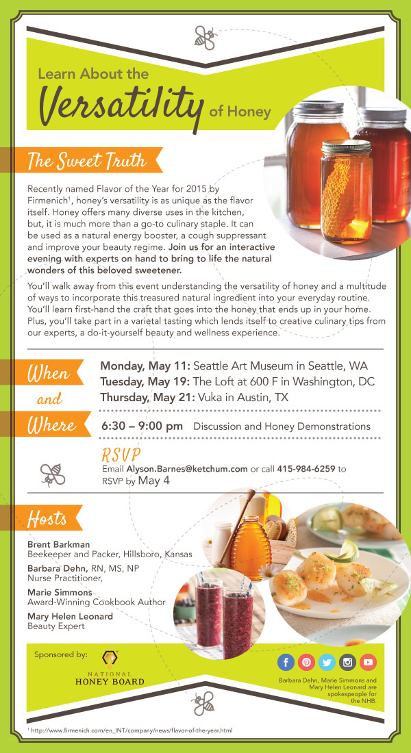 Learn about using honey for health, beauty, and cooking! Seattle, WA: May 11 at The Seattle Art Museum Washington D.C.: May 19 at The Loft at 600 F Austin, TX: May 21 at Vuka