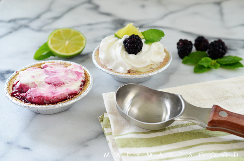 Key Lime & Blackberry Ice Cream Effortless Mini Pies