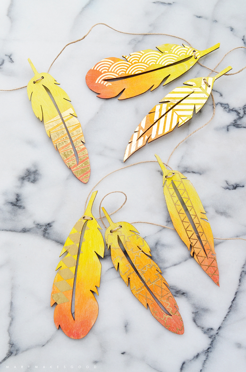 Autumn feather garland