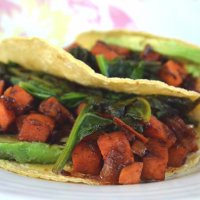 Chipotle Sweet Potato and Spinach Tacos