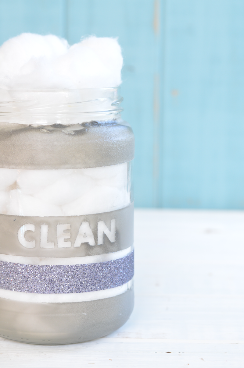 Make Your Own Upycyled Glass Bathroom Storage Jars