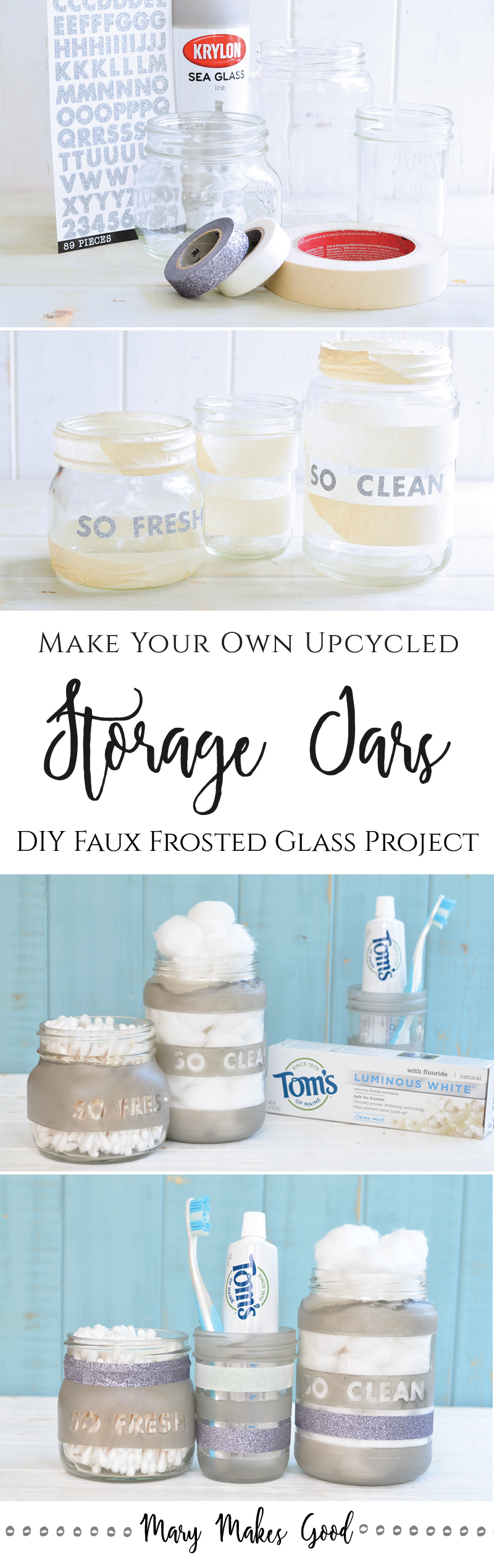 DIY Frosted Upycyled Glass Bathroom Storage Jars