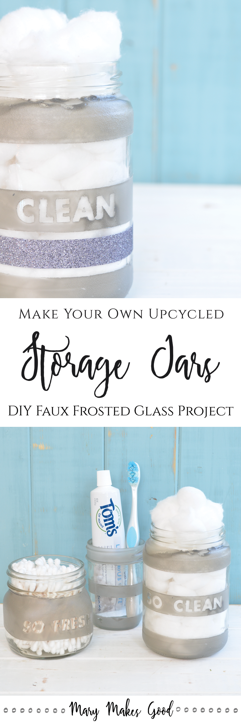 Make Your Own Frosted Upycyled Glass Bathroom Storage Jars