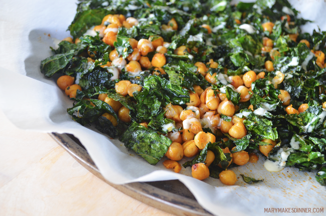 Roasted Chickpea and Kale Salad | www.MaryMakesDinner.com