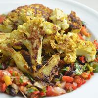 Curry Cauliflower Steaks with Mango Black Bean Salsa