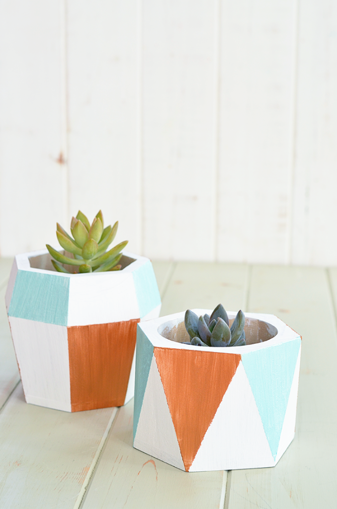 Hand Painted Geometric Planters | Tutorial