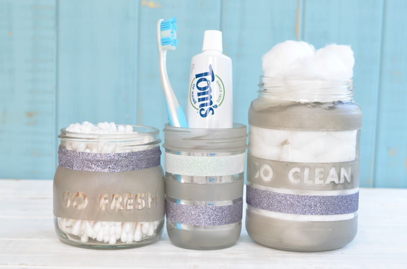 DIY Upcycled Glass Bathroom Storage Jars