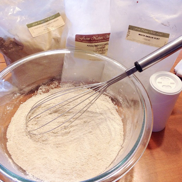 Mixing up some powder.