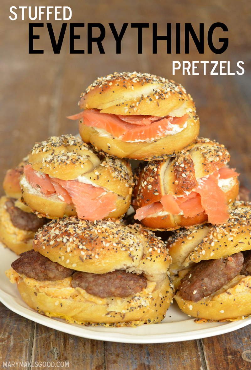 How to Win at Brunch: Bring Homemade Soft Pretzels topped with Everything Bagel Seasoning and stuffed with savory breakfast goodies!