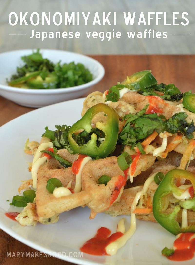 Veggie waffles inspired by Japanese Okonomiyaki!