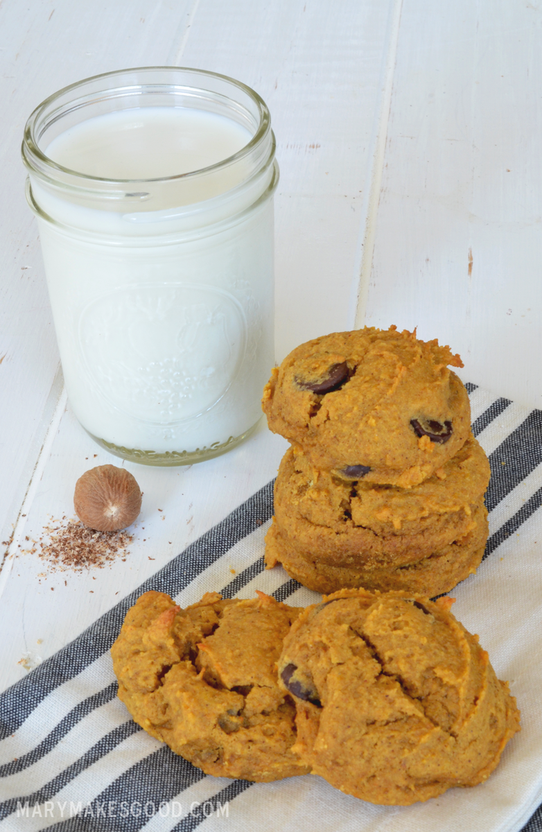 These Pumpkin Chocolate Chip Cookies have a soft, cake-like texture and mild spice. So good.