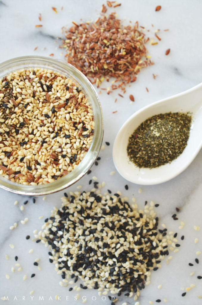 Make Your Own Furikake Rice Seasoning using healthy ingredients like Flax Seed Meal, Sesame Seeds, and Kelp Powder! | Recipe on Mary Makes Good