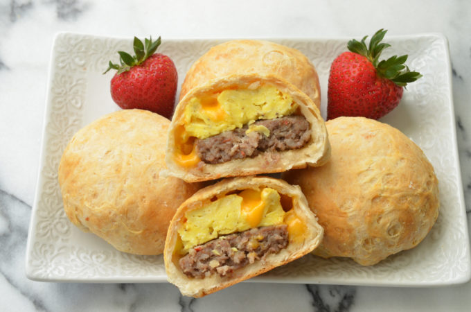 Stuffed Breakfast Biscuits with Sausage and Egg