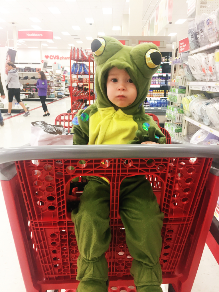 Pro Tip: If you're child is a challenging shopper, just dress him in a frog costume. The extra cuteness will garner sympathy.