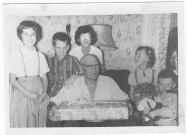 Grandfather Johnson with his grandkids.