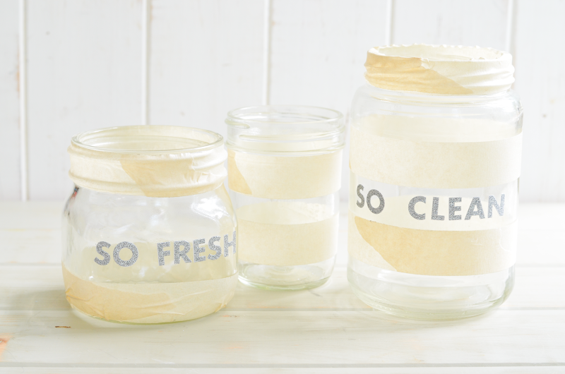 Make Your Own Frosted Bathroom Storage Jars