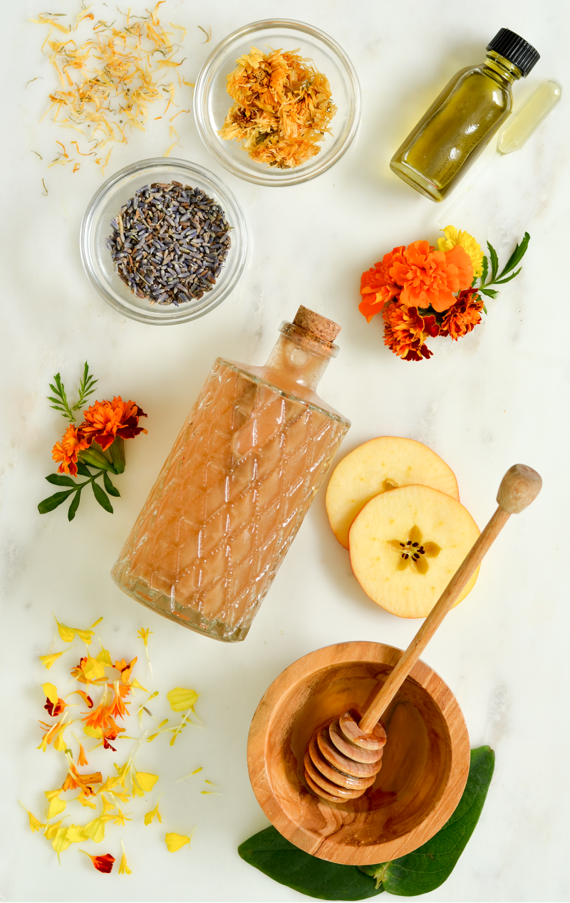 Make Your Own All Natural Facial Toner with Marigolds  Honey  and Vinegar